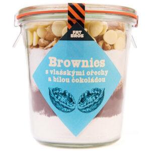 Brownies s vlašskými ořechy a bílou čokoládou v dóze
