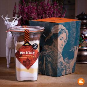 Bezlepkové muffiny s mléčnou čokoládou a kakaem a dárková krabička