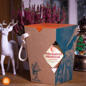 Čokoládový chlebíček s malinami v dóze a dárková krabička