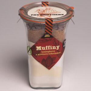 Bezlepkové muffiny s mléčnou čokoládou a kakaem v dóze