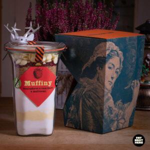 Bezlepkové muffiny s malinami a bílou čokoládou a dárková krabička